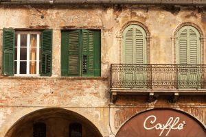 Italian coffee house in historical Verona.