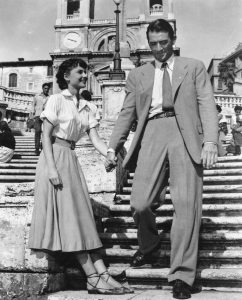 Audrey Hepburn and Gregory Peck on the Spanish Steps in Rome during filming of the popular 1953 film Roman Holiday.
