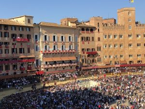 The Palio horse race in Siena is run each year on August 16 in honor of the Madonna of the Assumption (there is another Palio race on July 2).
