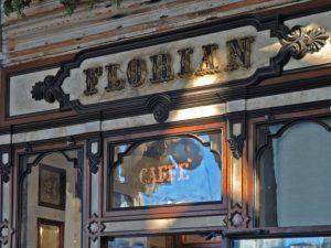 Elegany front door of Caffe Florian historic coffee shop in Venice, Italy in Piazza San Marco
