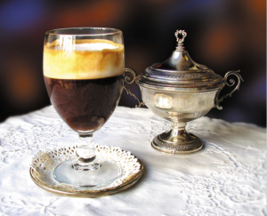 Famous coffee drink at Caffe il Bicerin in Turin historical cafe