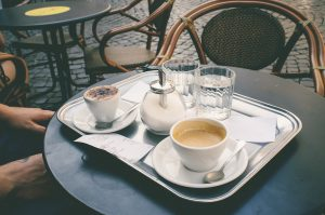 Coffee at Italian cafe in piazza of Rome