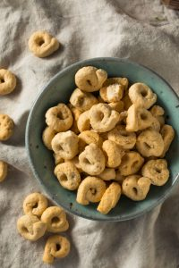 Taralli crunchy ring-shaped crackers from Puglia, Italy made with olive oil.