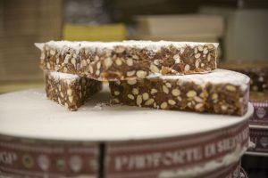Panforte spiced fruit cake from Siena is a popular Christmas dessert in Italy.