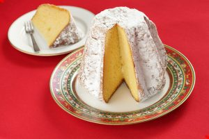 Pandoro Christmas cake popular in Italy, shaped like eight pointed star.