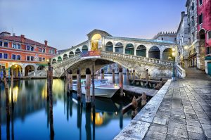 Rialto Bridge in Venice, one of the most popular sights in the city on the Grand Canal.