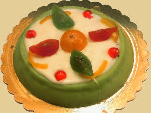 The cassata siciliana is the most important dessert in Sicily, Italy and eaten at Christmas season. It is made of ricotta, marzipan, sponge cake and candied fruit.