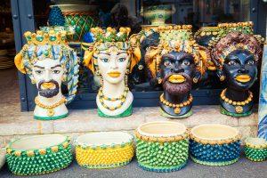 Colorful handpainted Sicilian ceramics in shape of heads, Testa di Moro.