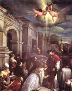 Renaissance painting of Saint Valentine baptizing Saint Lucilla by Jacopo Bassano, dated 1575.