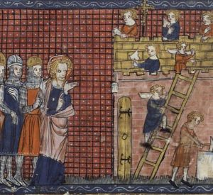 14th century French manuscript of Saint Valentine overseeing the construction of his basilica at Terni.