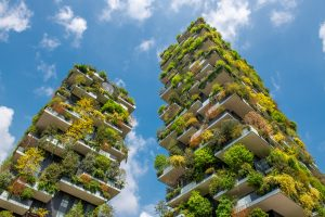 Bosco Verticale (Vertical Forest) two residential buildings in the Porta Nuova district of Milan, Italy designed by architect Stefano Boeri to be sustainable with plants.