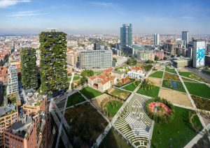 Porta Nuova District, Milan, Italy - Panoramic view on Park Biblioteca degli Alberi (Library of Trees) by architect Petra Blaisse, on the left is the pair of towers Bosco Verticale (Vertical Forest), at the centre is Palazzo Lombardia.