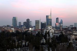 The new skyline of Milan, Italy with modern futuristic skyscrapers in the Porta Nuova district.