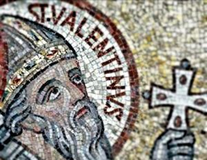 Mosaic image of Saint Valentine, an Italian saint from the 3rd century AD.
